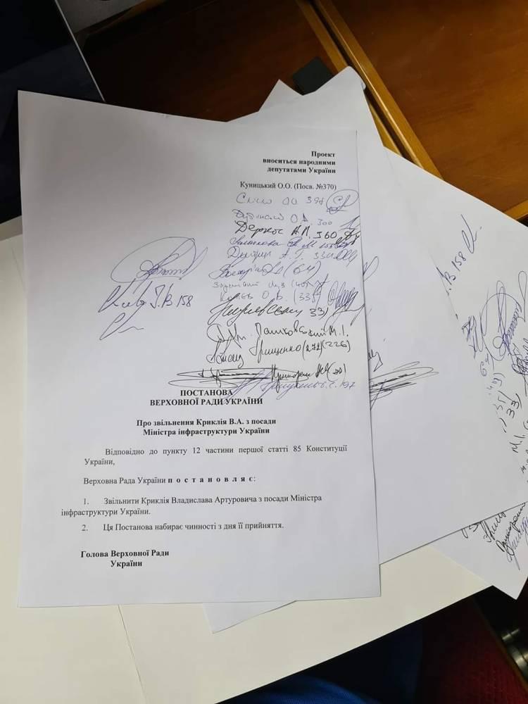 Депутаты собирают подписи за отставку Криклия
