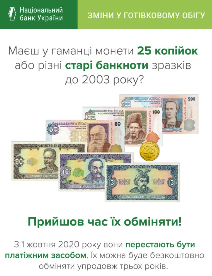 НБУ выводит из оборота гривны старого образца и монеты 25 копеек