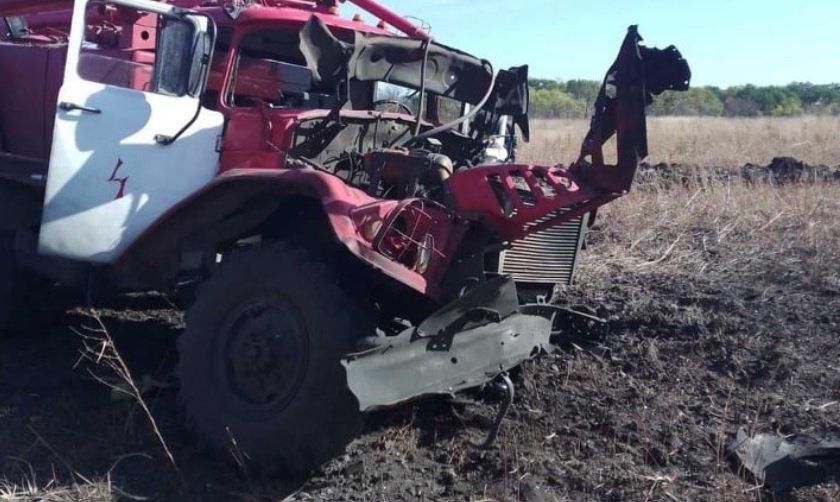 В Луганской области пожарный автомобиль подорвался на мине